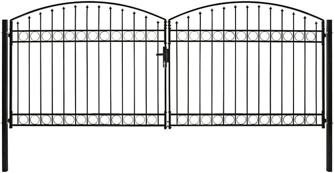 vidaXL Cancela Valla Doble Puerta con Arco Puerta Jardín Accesorios para Entrada Funcional Moderna Estable Duradera Práctica 400x175cm Acero Negro: Amazon.es: Bricolaje y herramientas