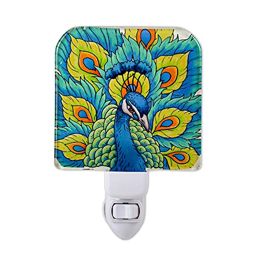 Liffy Glass Baby Bedroom Plug in Night Light Childs Kids Wall Nursery LED Portable Night Lamp Peacock