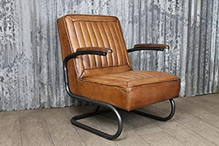 VINTAGE STYLE TAN LEATHER ARMCHAIR THE SHARD IRON CLUB CHAIR