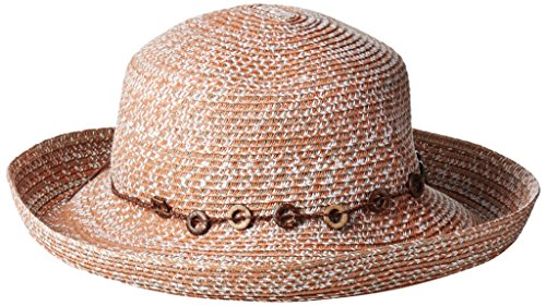 (San Diego Hat Company Women's 3-inch Ultrabraid Kettle Brim Sun Hat with Beaded Trim, Rust, One)