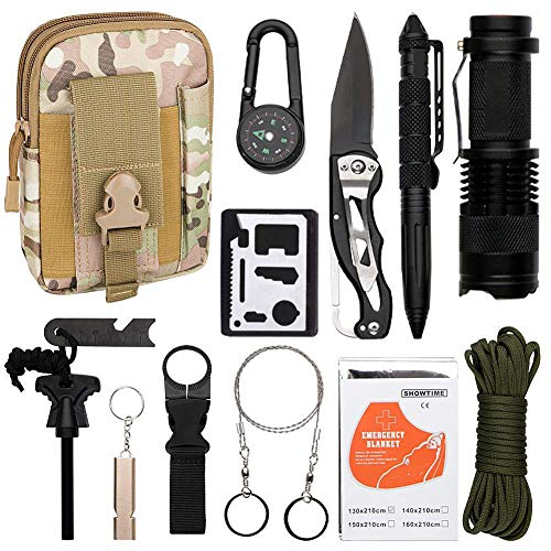 Emergency Survival Kit 13 in 1- Outdoor Survival Gear Tool for Wilderness/Trip/Cars/Hiking/Camping gear - Paracord,Wire Saw, Emergency Blanket, Flashlight, Tactical Pen, Water Bottle Clip ect