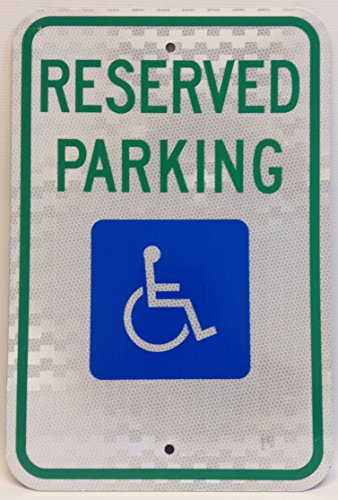12 x 18 x 063 Aluminum HANDICAP PARKING SIGN (NO Arrow) RESERVED PARKING with Handicap Symbol (R7-8), Avery Engineer Grade Prismatic Sheeting 063 Aluminum Sign
