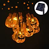Semilits Solar String Lights Outdoor 30LED Yard Decorations with 3D Pumpkin Garden Decor for Halloween Christmas Lights