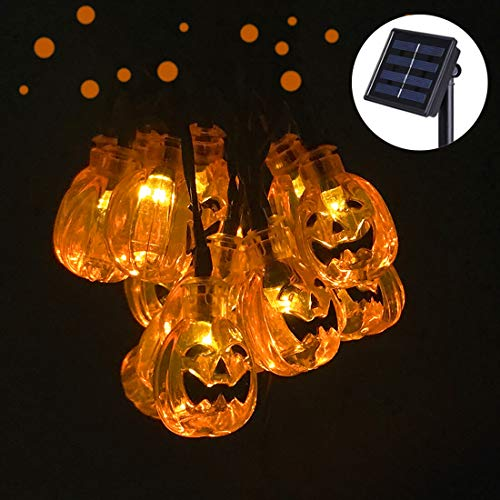 SEMILITS Solar String Lights Outdoor 30LED Yard Decorations with 3D Pumpkin Garden Decor for Halloween Christmas Lights (Outdoor Pumpkin Decorations)