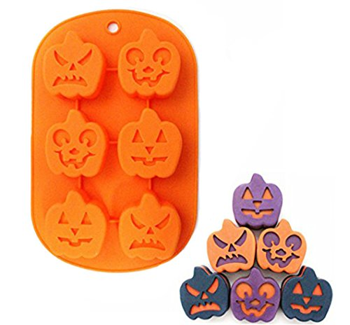 Fashionclubs Silicone Halloween Pumpkin Face Chocolate/Fondant/Candy Mold Dia 4.8cm]()