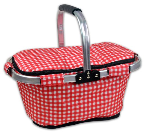 DII Insulated Market Basket or Picnic Tote, Perfect for Holidays Parties, Farmers Markets, BBQ's, Grocery Shopping, Potlucks, To Go Lunches, Craft/Dish Storage & Monogramming - Checkered Red/White