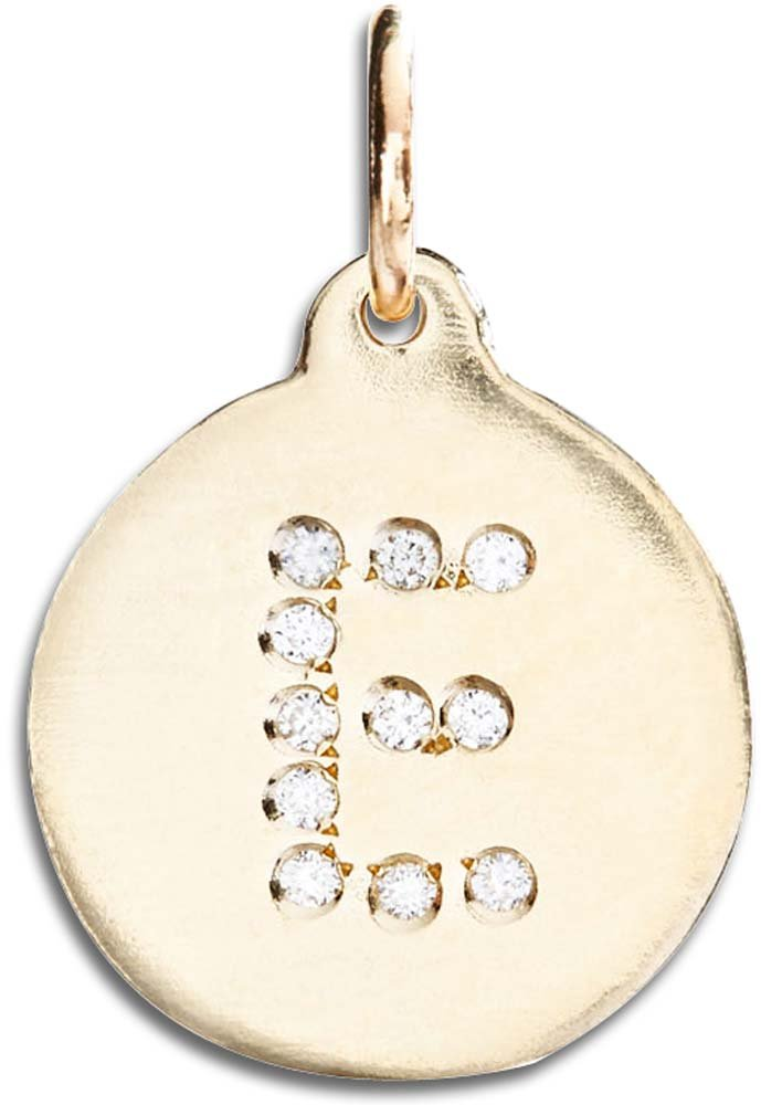 Helen Ficalora ''E'' Alphabet Charm Pave Diamonds Yellow Gold