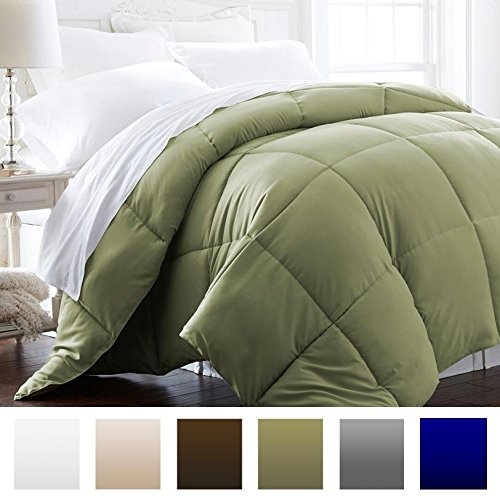 Beckham Hotel Collection 1600 Series - Lightweight - Luxury Goose Down Alternative Comforter - Hotel Quality Comforter and Hypoallergenic - Twin/Twin XL - Olive (Series 1600)