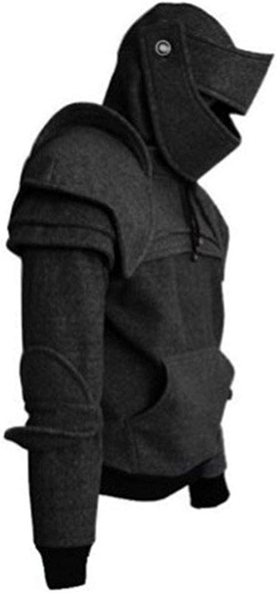 Uomo Felpa con Cappuccio Cavaliere Maglione Cappotto Manica Lunga Halloween