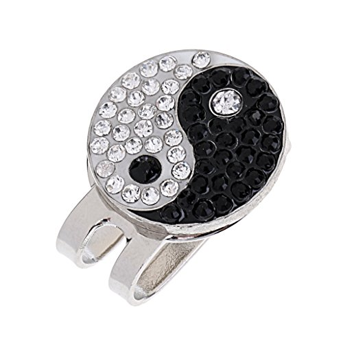 MagiDeal Sturdy Yin Yang Magnetic Hat Clip Golf Ball Marker Clip On Golf Cap Visors