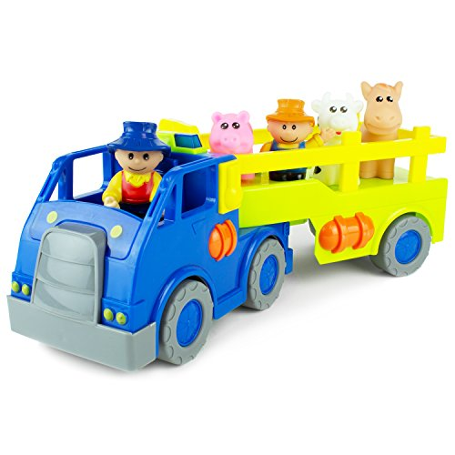 Boley Toys Farm Truck and Trailer with Barn Animals - Two Farmers, Pig, Horse, and Cow Figurines - Lights, Music, and Sounds! (Big Barn Farm)