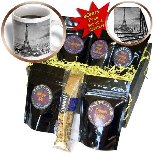 CDM product 3dRose Eiffel Tower Paris France 1889 Black and White Coffee Gift Basket Multi big image