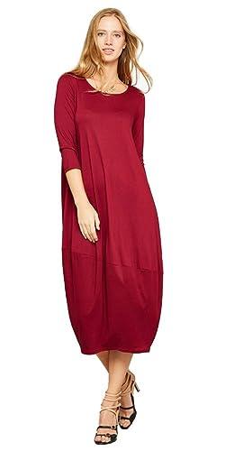 Tabeez Women's Casual 3/4 Sleeve Oversized Bubble Jersey Shift Midi Dress