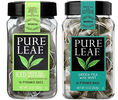 Rainforest Citrus Mint (Pure Leaf Select Teas 2 Flavor Variety Bundle, (1) Each: Green Citrus and Green Mint - 16 Count)