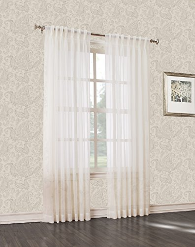 Pleated Pinch Voile Panels - No. 918 Voile Pinch Pleat Curtain Pair, 2 Panels, 47 by 63-Inch, Solid, Ivory