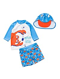 Happy Cherry Baby Boys Rash Guard Sets UPF 50+ Crab Swimsuit Bathing Suits