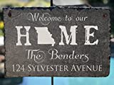 Sassy Squirrel Handcrafted and Personalized Slate House Sign - Welcome to our Home State Sign (12''x8'')