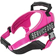 Service Dog Vest Harness - Military Grade Assistance Dog Harness with Removable Reflective Patches - Comfortable & Safe - Handle for Maximum Training, Walking Control - Free ADA eBook (S, Pink)