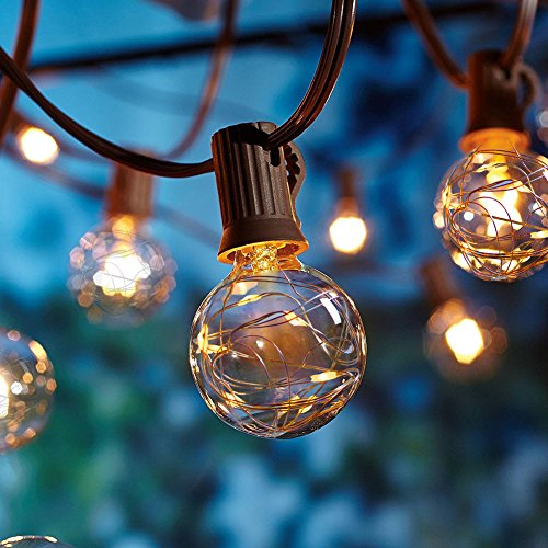 Decorative Party Tent (UL G40 Globe String Lights, 12ft UL listed Backyard Patio Lights, 12 LED G40 Bulbs, Hanging Indoor Outdoor String Light for Garden Party Decor Bistro Pergola Tents Cafe Gazebo)