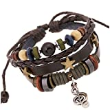 TEMEGO Jewelry Mens Womens Genuine Leather Wrap Bracelet, Vintage Coloful ...