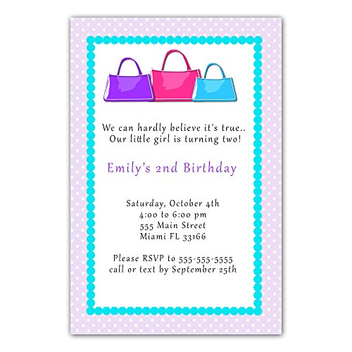 30 Invitations Purse Invite Baby Girl Shower Sprinkle or Birthday Party Personalized Cards + 30 White Envelopes