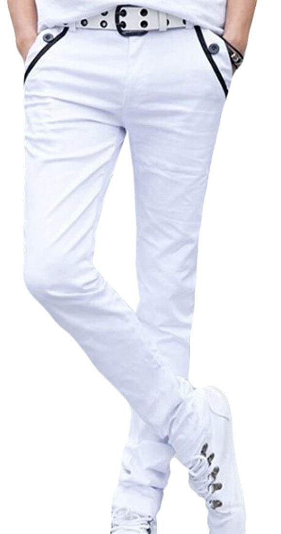 xiaohuoban Mens Skinny Fit Casual Pencil Long Pants Stright Leg Linen Cotton Stretchy Trousers