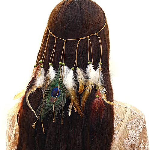 Feather Headband Hippie Indian Boho Hair Bands Tassel Bohemian Halloween Hair Hoop Women Girls Crown Hairband Party Decoration Headdress Cosplay Costume Headwear Headpiece Hair Accessories (Hair Band Halloween Costumes)