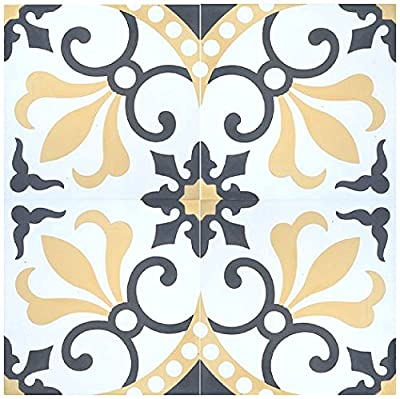 "Rustico Tile and Stone RTS16 Thames Cement Tile Pack of 13, 8"" x 8, Gray/Gold/White"