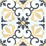 """Rustico Tile and Stone RTS16 Thames Cement Pack of 13, 8"""" x 8, Gray/Gold/White"""