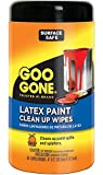 Goo Gone Paint Clean Up Wipes - 50 Count - Latex Paint Remover Surface Safe On Glass Metal Plastic Finished Wood Sealed Stone Carpet