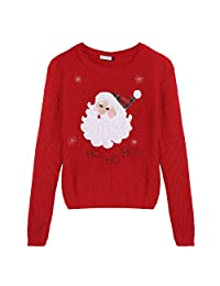 Arshiner Girl Christmas Cute Deer and Elk Embroidered Knitted Pullover Sweater