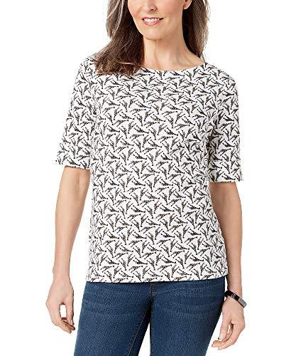 Karen Scott Petite Cotton Printed Boat-Neck Top (Giraffe Motif, PS)