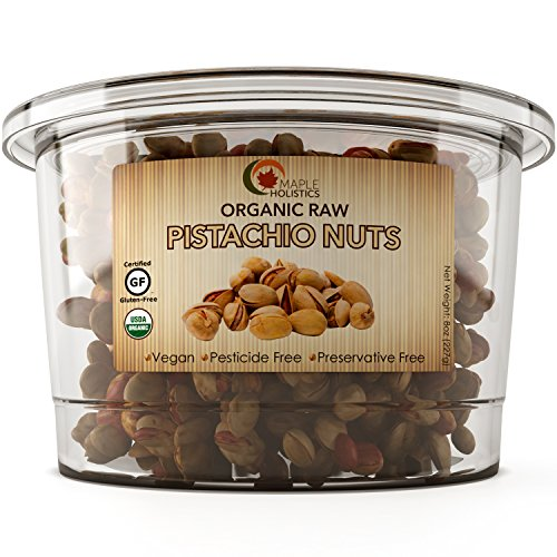 Pistachio Nuts – Organic Raw Pistachios - 100% Certified Gluten Free Kosher & Salt Free – Perfect For Trail Mix Cooking and Baking - 8 Oz - USDA Organic – Vegan - by Maple (Kosher Pistachios)