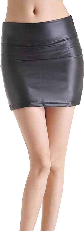 Mujeres Verano Bajo El Calzado Zapato De Las Señoras Mode De Marca Paquete De Cuero Patentado Falda De Cuero Mini Falda Falda En Cuero Look Wet Look Negro Moda Slim Fit Faldas Cortas