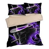 Fabulous Black Hat Skull Cotton Microfiber 3pc 90''x90'' Bedding Quilt Duvet Cover Sets 2 Pillow Cases Queen Size