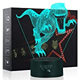 little boy room ideas 3D Night Lights for Children, Dinosaur Toy for Boys 7 Colors Changing Touch Button USB Charge Table Desk Lamps Kids Bedroom Lighting Décor LED Nightlight, Cool Gifts Xmas Birthday for Baby Friend