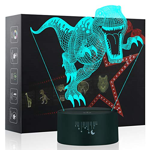 3D Night Lights for Children, Dinosaur Toy for Boys 7 Colors Changing Touch Button USB Charge Table Desk Lamps Kids Bedroom Lighting Décor LED Nightlight, Cool Gifts Xmas Birthday for Baby Friend