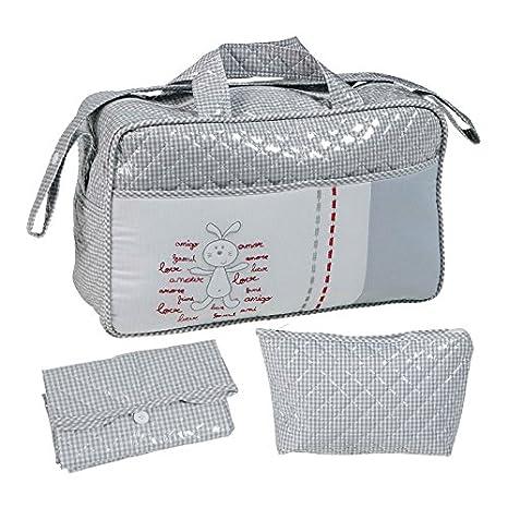 Bolso maternidad BORDADO GRIS tipo maleta. Incluye: Bolso + ...
