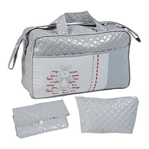 Bolso maternidad BORDADO GRIS tipo maleta. Incluye: Bolso + Cambiador + Bolsito neceser IMPERMEABLE. Amplia oferta de modelos en: Koketes, Mobibe, Bebelovers