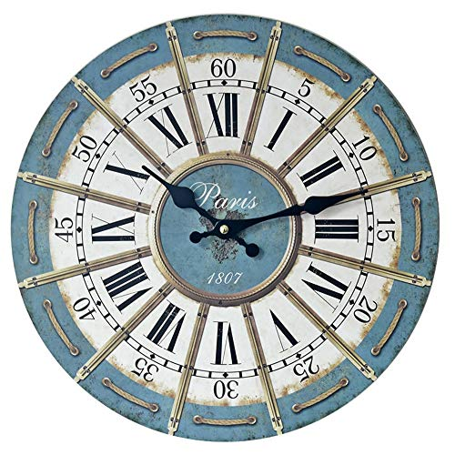 Zhouminli Metal Clock Rome Retro Wall Clock Silent Wall Clocks Large Decorative Big Wood Atomic Analog Battery Operated Style for Living (Without Battery) (Color : Blue, Size : Free Size)
