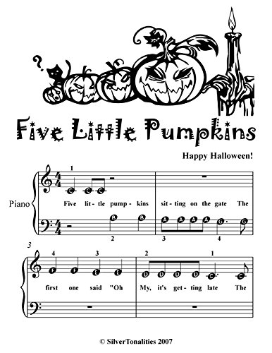 Five Little Pumpkins Beginner Piano Sheet Music Tadpole Edition -