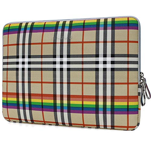 MOSISO Laptop Sleeve Compatible 13-13.3 Inch MacBook Pro Retina/MacBook Air/Surface Laptop 2 2018 2017/Surface Book, PU Leather Super Padded Bag Waterproof Protective Case, Beige Rainbow Plaid
