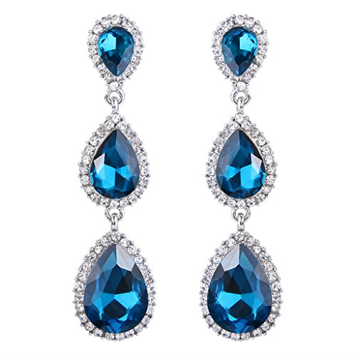 EleQueen Women's Silver-tone Austrian Crystal Tear Drop Pear Shape Long Earrings Blue