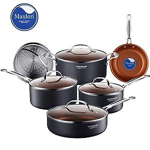Cooksmark 10 piece copper ceramic induction compatible nonstick pots and pans set - Thermometre cuisine compatible induction ...
