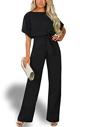 Alelly Women's Summer Short Sleeves Elegant Playsuit Wide Leg Jumpsuit Romper Belted Black