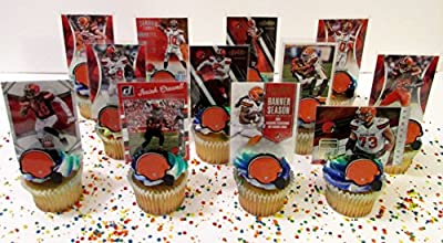 CLEVELAND BROWNS 24 Piece Birthday Cupcake Topper Set Featuring 12 Browns Team Helmet Rings and 12 Browns Player Football Cards