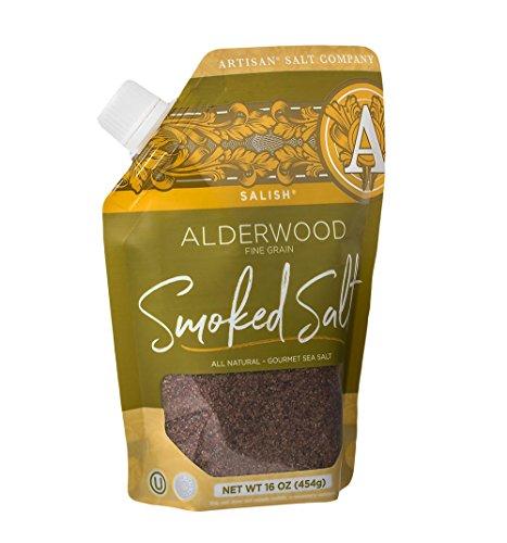 SaltWorks Salish Alderwood Smoked Sea Salt, Fine, Pour Spout Pouch, 16 Ounce