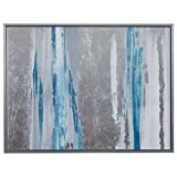 Modern Blue and Silver Abstract Print, Silver Frame 41.75'' x 31.75''