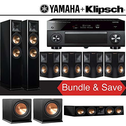 Klipsch RP-260F 7.2-Ch Reference Premiere Home Theater System (Piano Black) with Yamaha AVENTAGE RX-A3070BL 11.2-Channel Network A/V Receiver