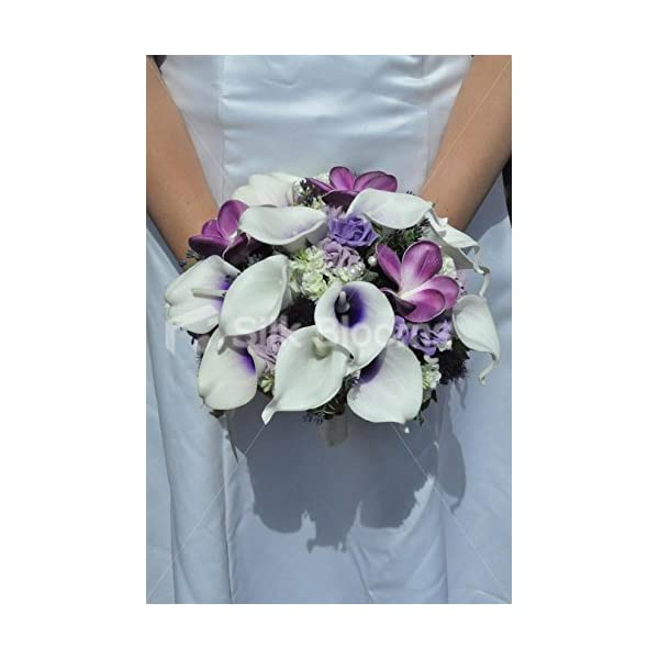 Gorgeous Unique Artificial Purple Frangipani and Picasso Lily Bridal Bouquet with Lilac Roses and Thistles